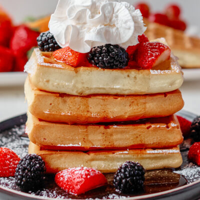 baked waffles stack with berries