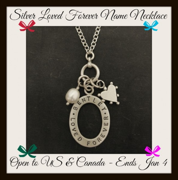 Silver loved forever memorial name necklace button
