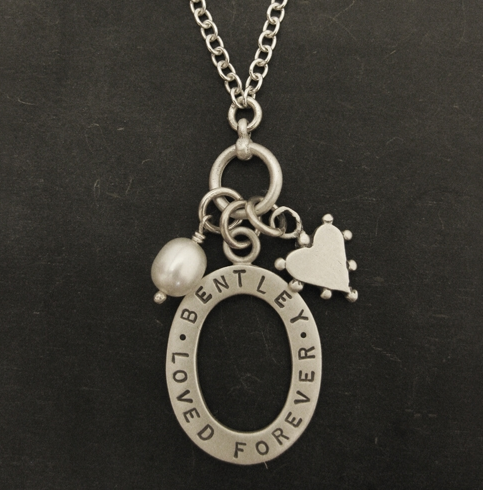 Silver loved forever memorial name necklace