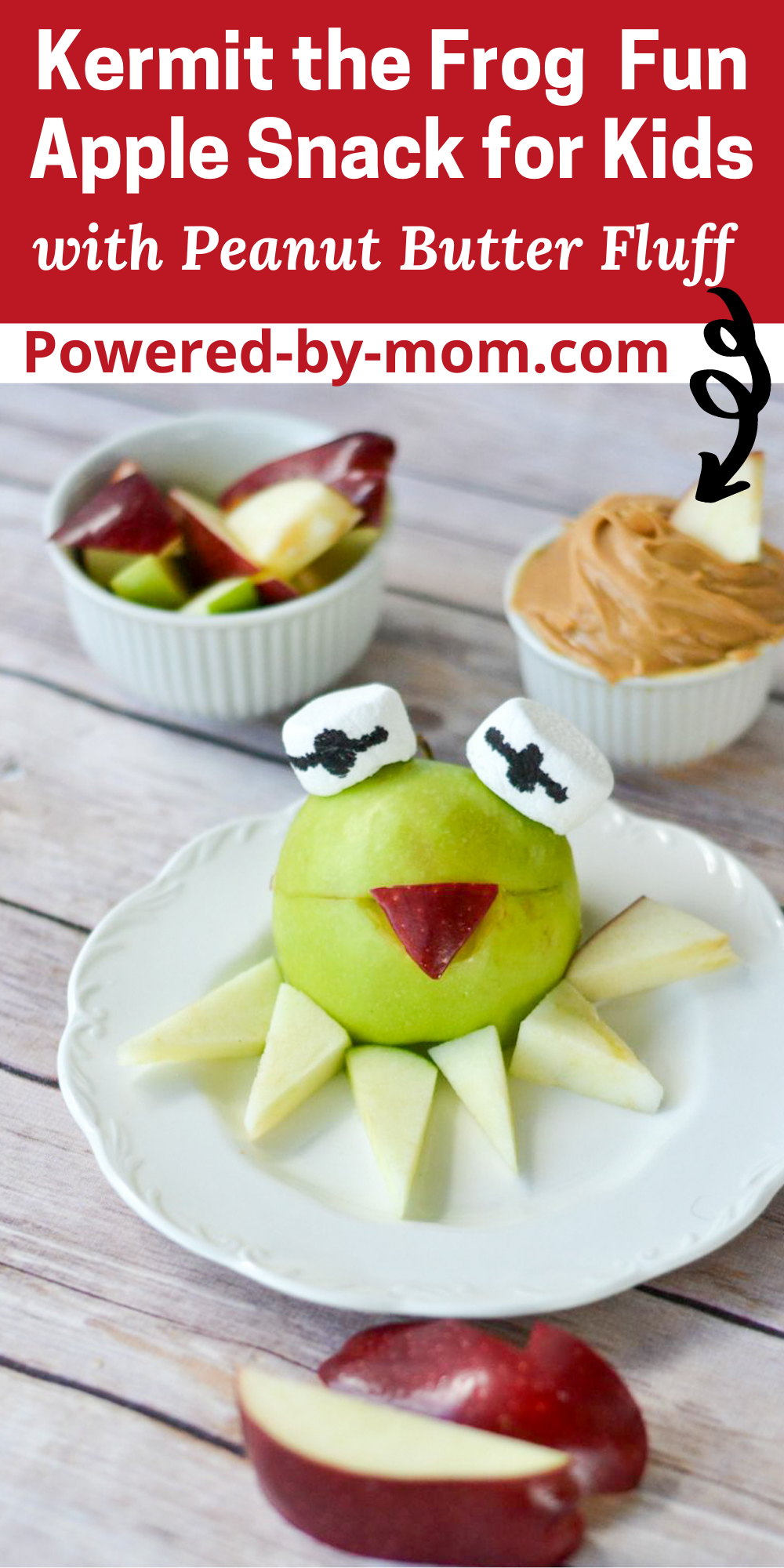 Do you struggle trying to get your kids to eat healthy snacks? Try this fun healthy snack for kids in the shape of the Muppet's Kermit the Frog. It's a fun and tasty treat that's healthy with apples and a peanut butter fluff dip!