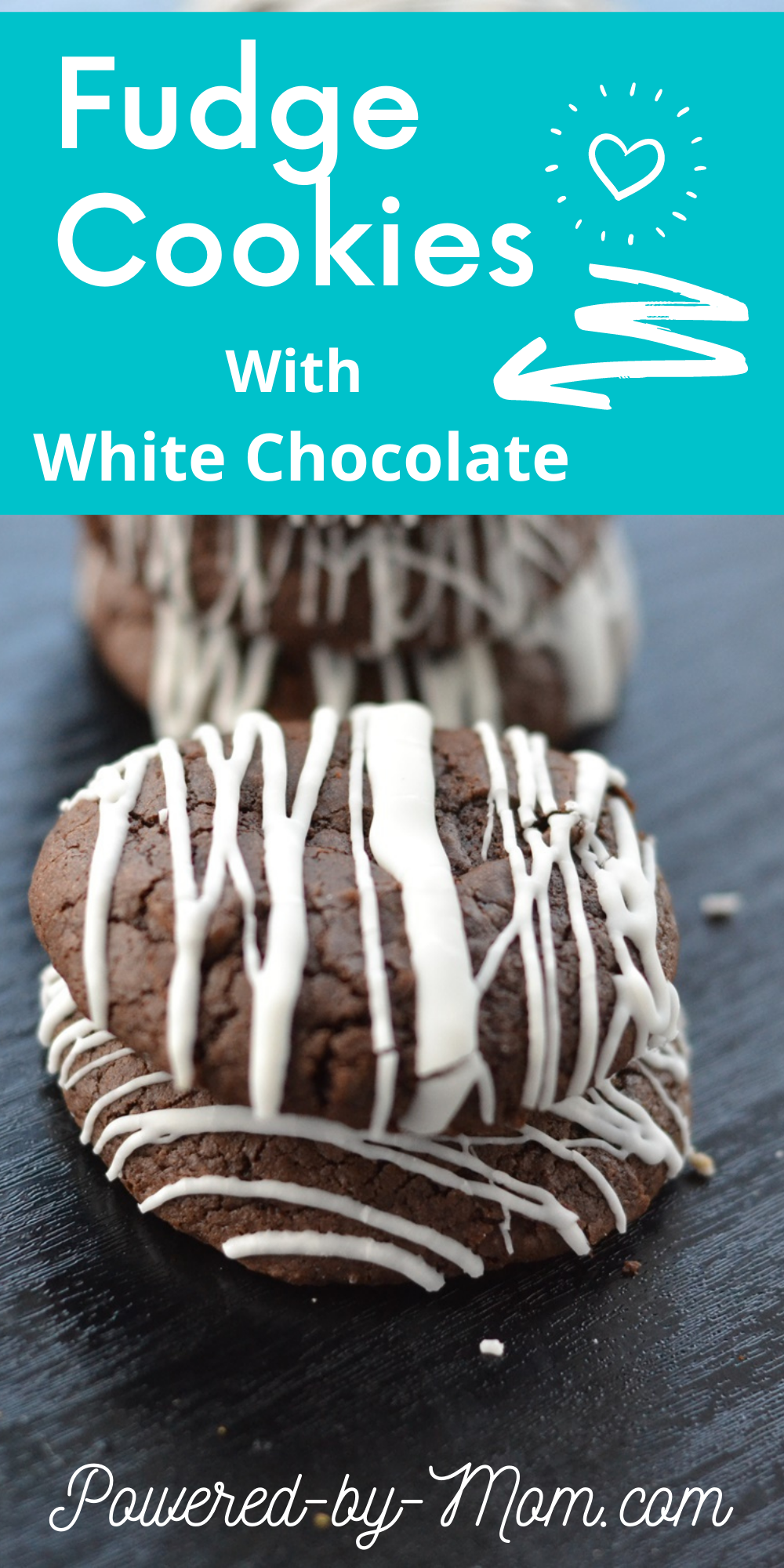 Enjoy these soft and chewy but crispy on the ends fudge cookies with white drizzle. An easy and delicious recipe for everyone to enjoy.