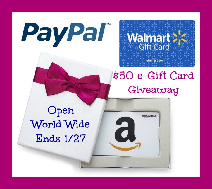 amazon paypal or walmart 50 gift card giveaway powered by mom. Black Bedroom Furniture Sets. Home Design Ideas