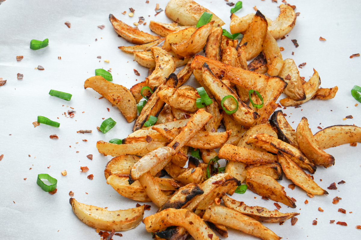 turnip fries with peanut dipping sauce