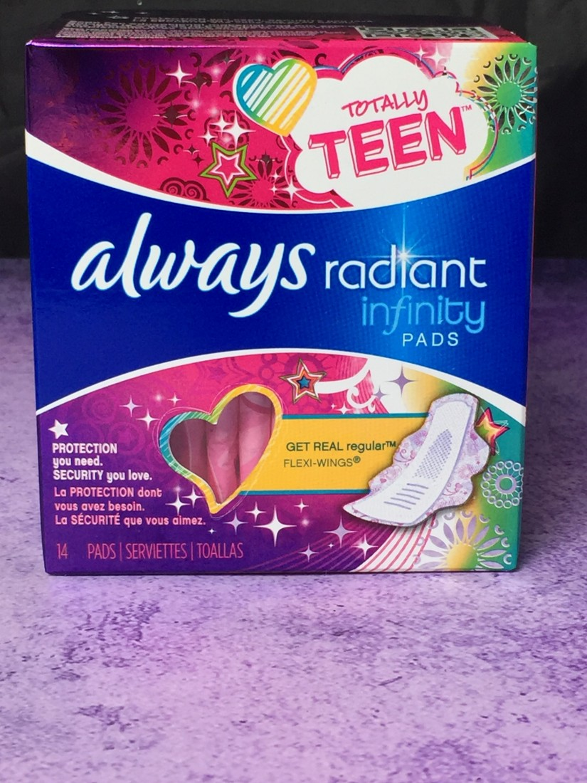 Always Radiant Pads for teens their period