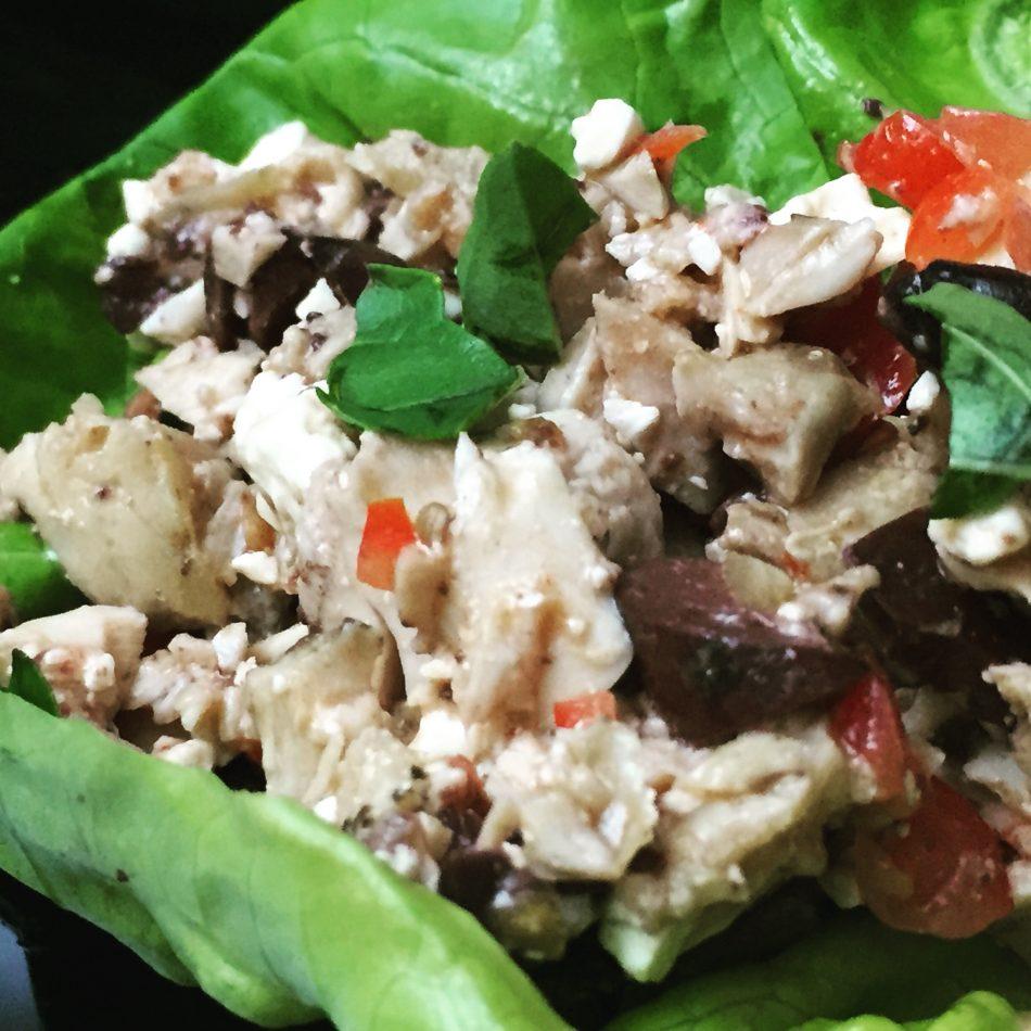 A Mediterranean Chicken Lettuce Wrap