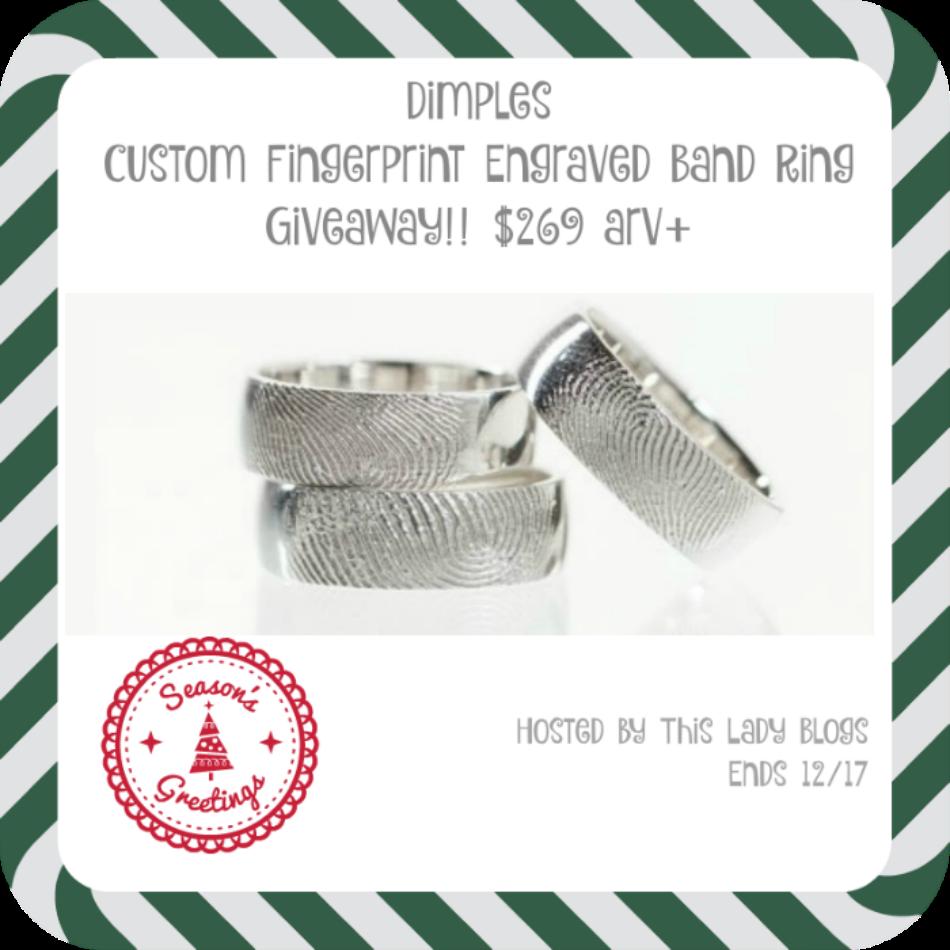 Dimples Custom Fingerprint Engraved Band Ring Giveaway