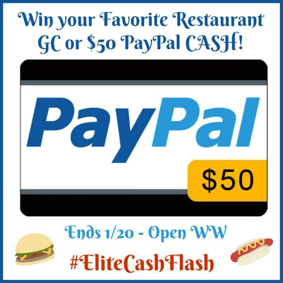 $50 Favorite Restaurant Gift Card or Paypal Cash Giveaway!