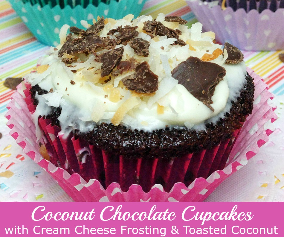 Coconut Chocolate cupcakes with cream cheese frosting