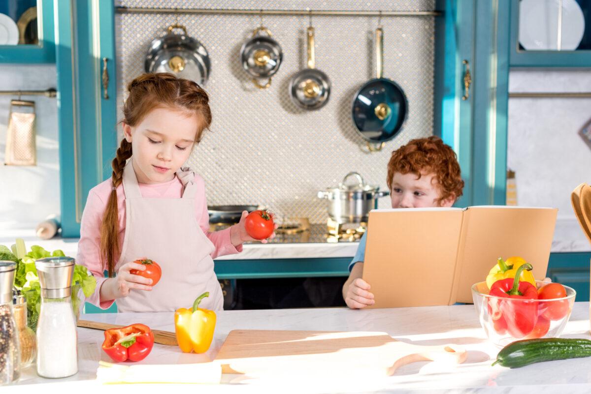 kids preparing vegetables to cook