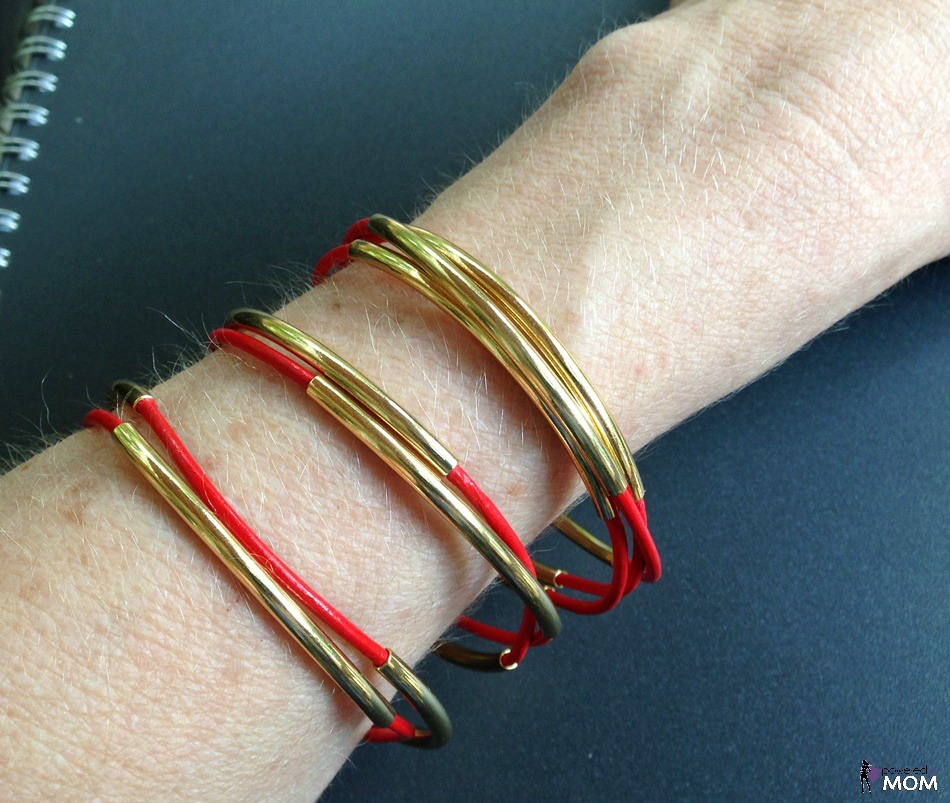 Lux Leather Bangles In Red