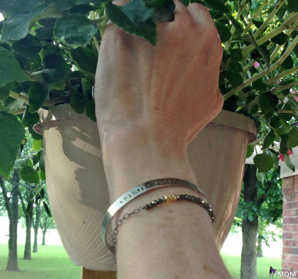 Thin Message Cuff and Dark Pyrite Bracelet