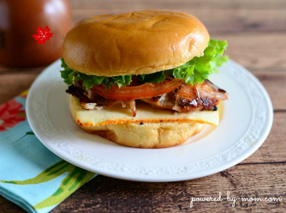 grilled chicken burger with maple mayo