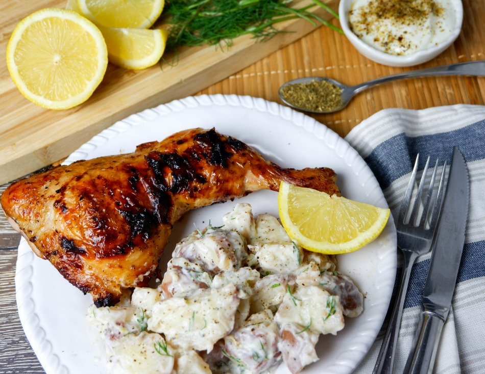 Greek-Style Chicken Legs and Potato Salad