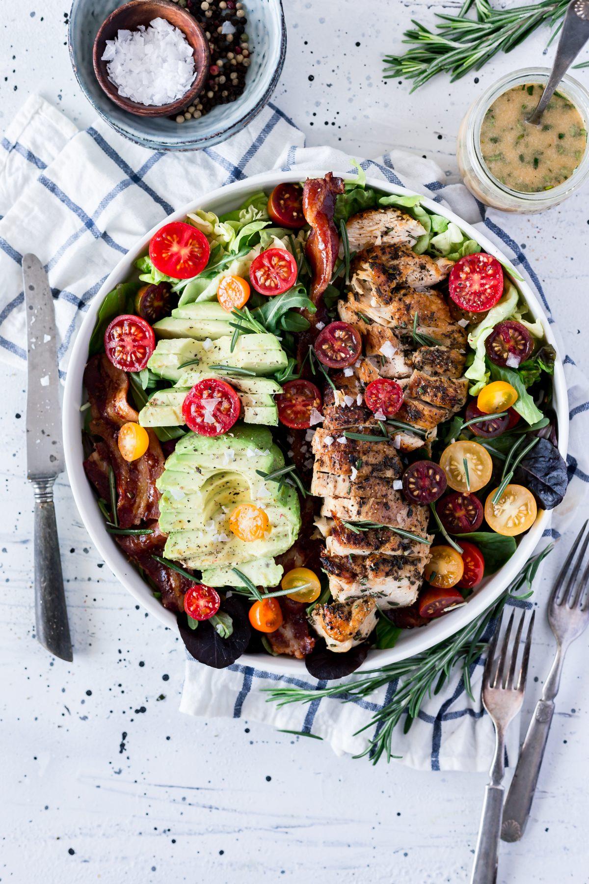 Rosemary Chicken Bacon Avocado Salad