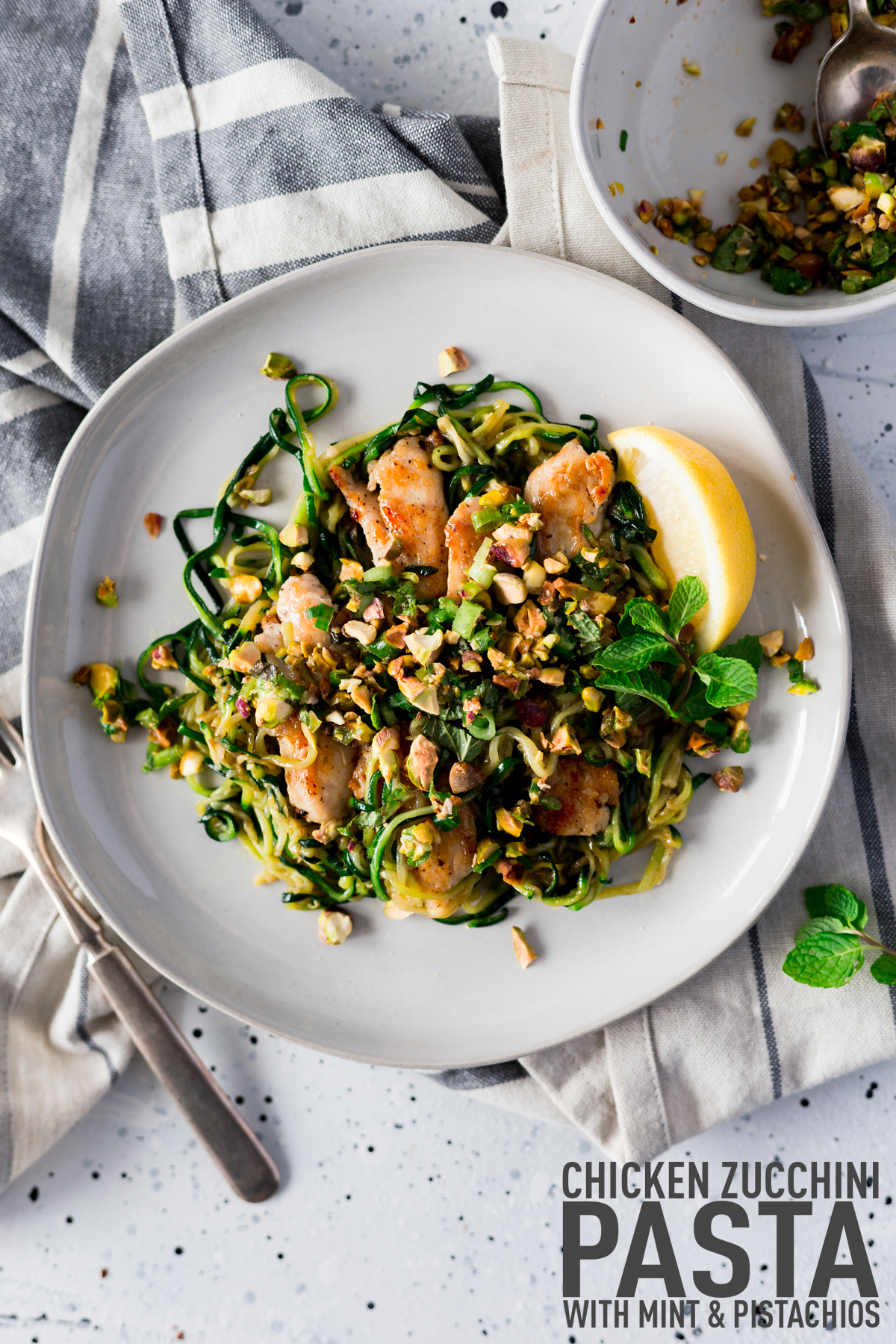 Chicken Zucchini Pasta Zoodles with Mint & Pistachios Recipes