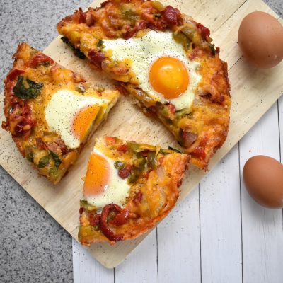 Garlic and Basil Egg Breakfast Pizza with Onions and Peppers