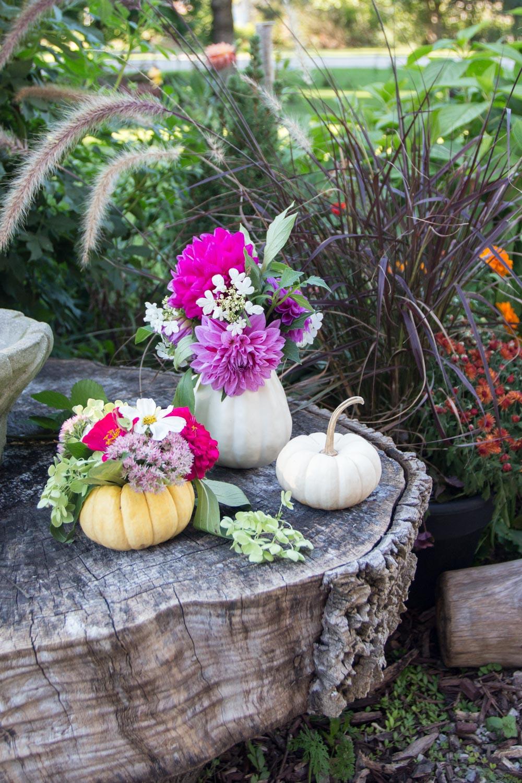 mini pumpkin flower vase