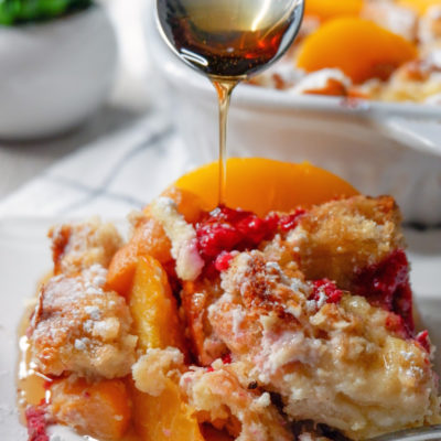 Easy Raspberry Peach Baked French Toast Recipe