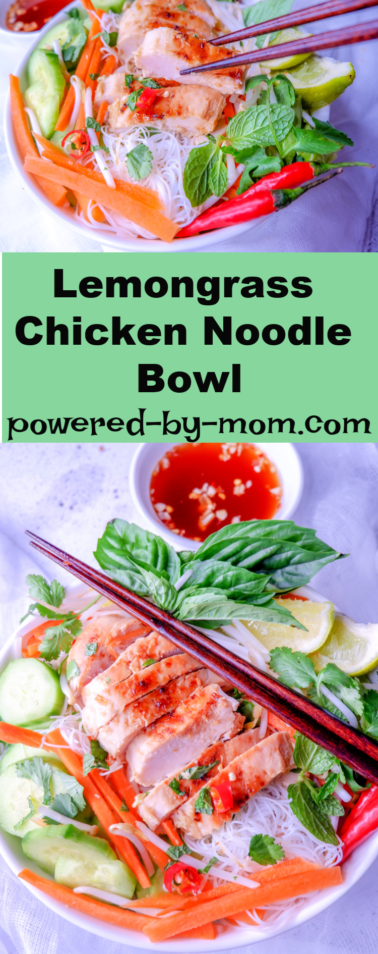 Serve up this healthy noodle bowl recipe with tender chicken, veggies and flavors of lemongrass. The perfect recipe to make #mealprep #ricenoodlebowl #easy #lunch #lightmeal #Vietnamese #lunch #shredded #rotisserie