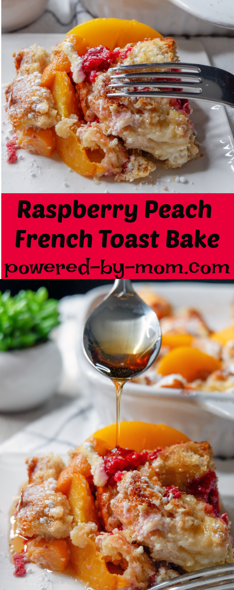 Whip up this raspberry peach baked french toast recipe the night before, so all you have to do is toss it in the oven to bake in the morning. An overnight french toast bake that is filled with fruit and tender french bread. #easy #best #frenchtoast #casserole #overnight #fruit #oven #brunch #holiday #breakfast