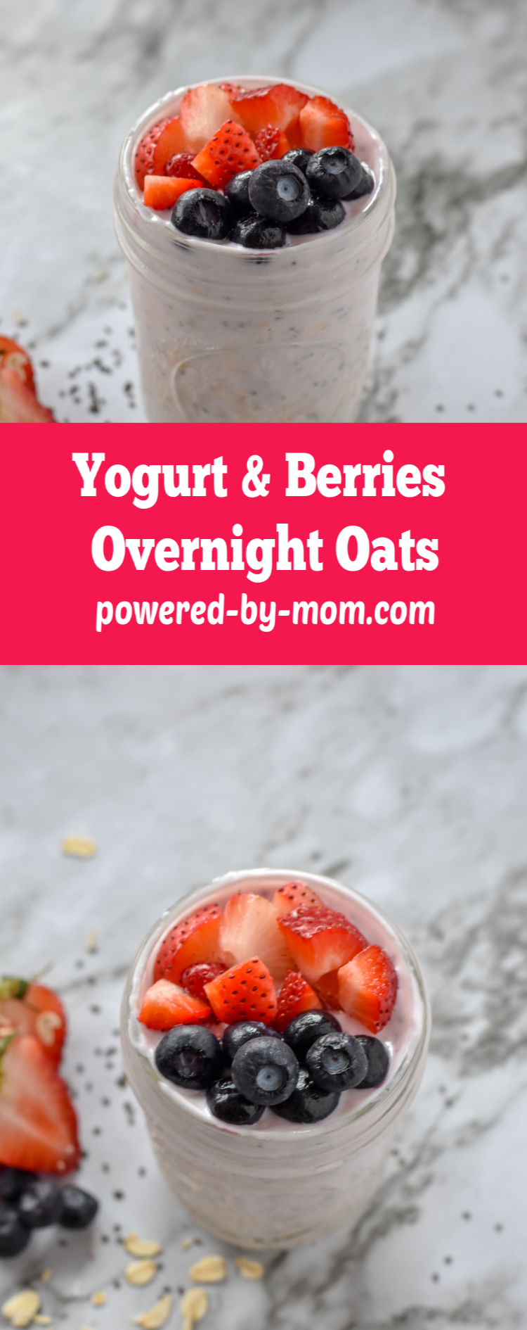 Overnight Oats with Yogurt and Berries pack tons of flavor and protein into your breakfast with only a few minutes preparation the night before! Make these today.