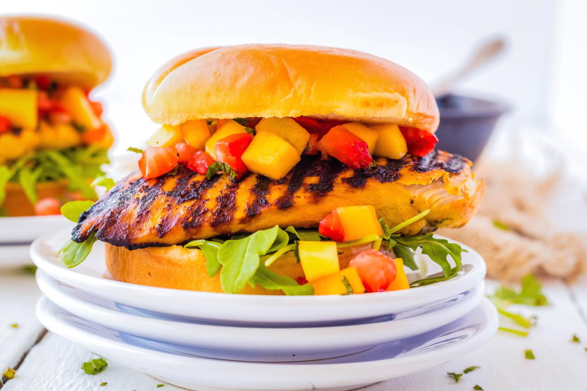 Asian Fusion Chicken Burger with Fruit Salsa