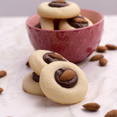 Homemade Thumbprint Cookies with chocolate and almonds