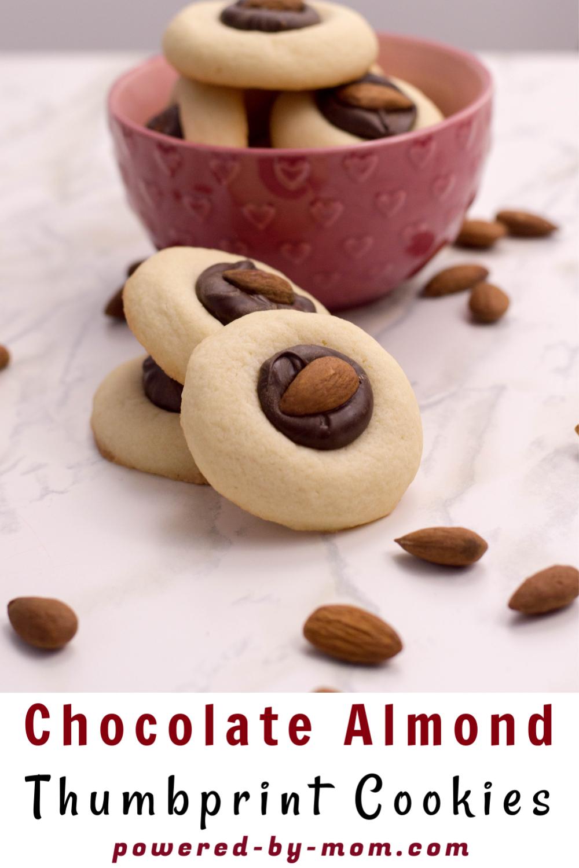 chocolate almond thumbprint cookies