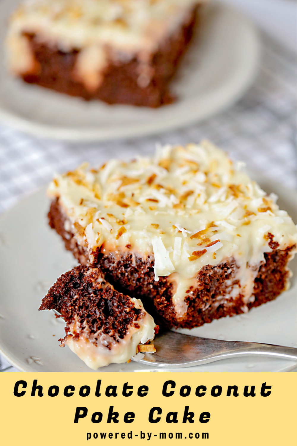 Chocolate Coconut Poke Cake with toasted coconut and homemade coconut pudding