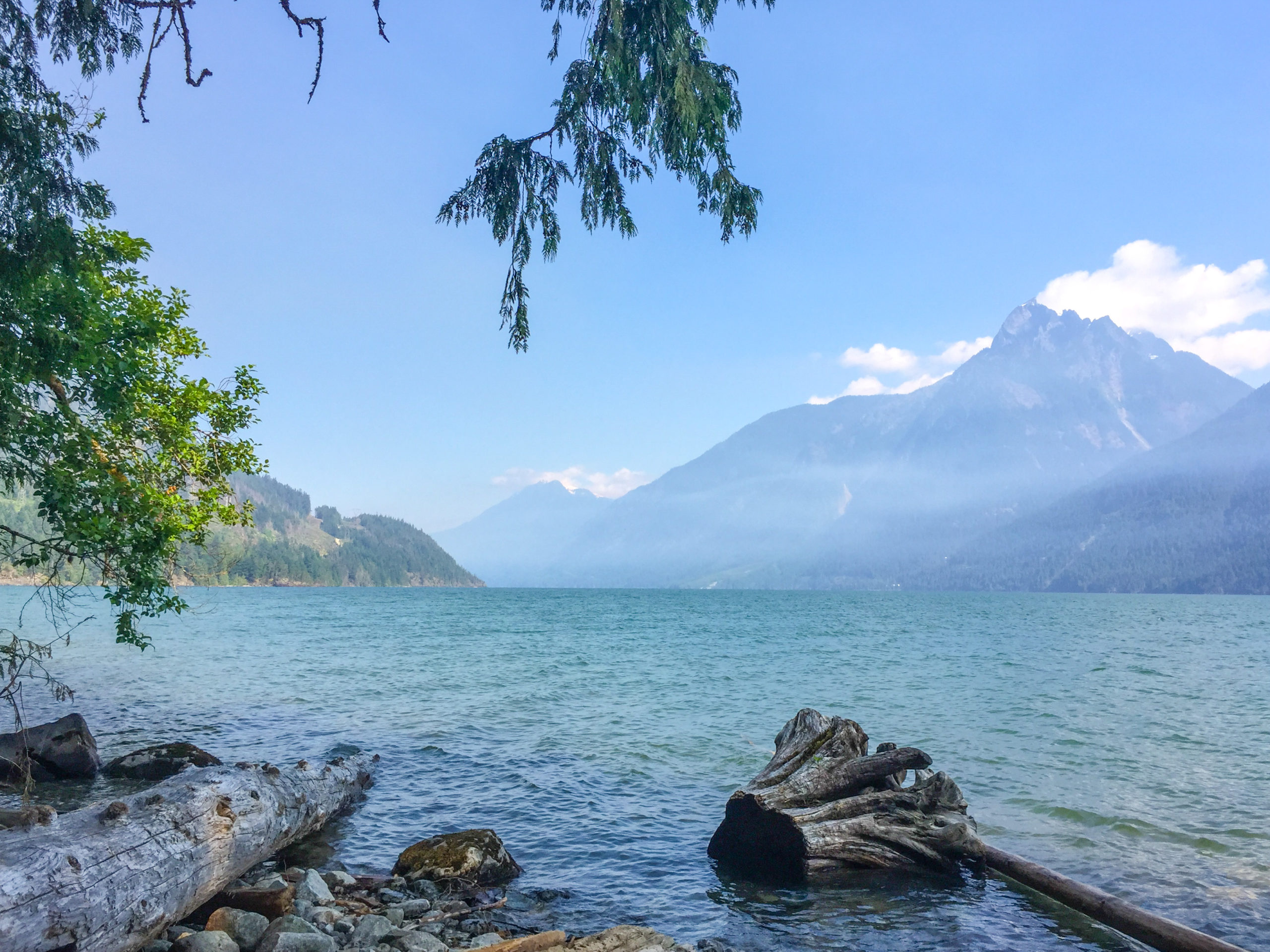 harrison lake view with mountains