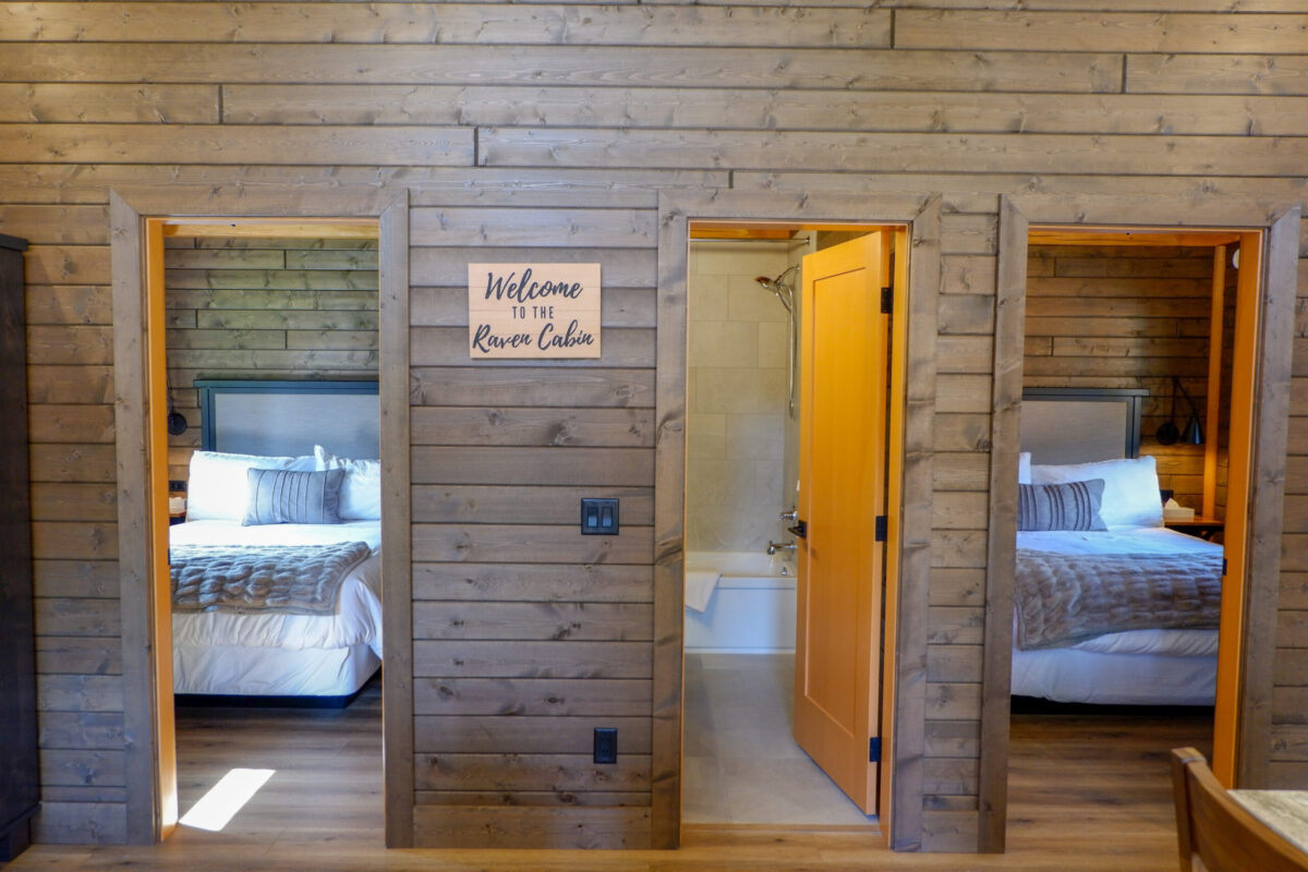 Luxury cabin bedrooms in the Raven at Sandpiper resort