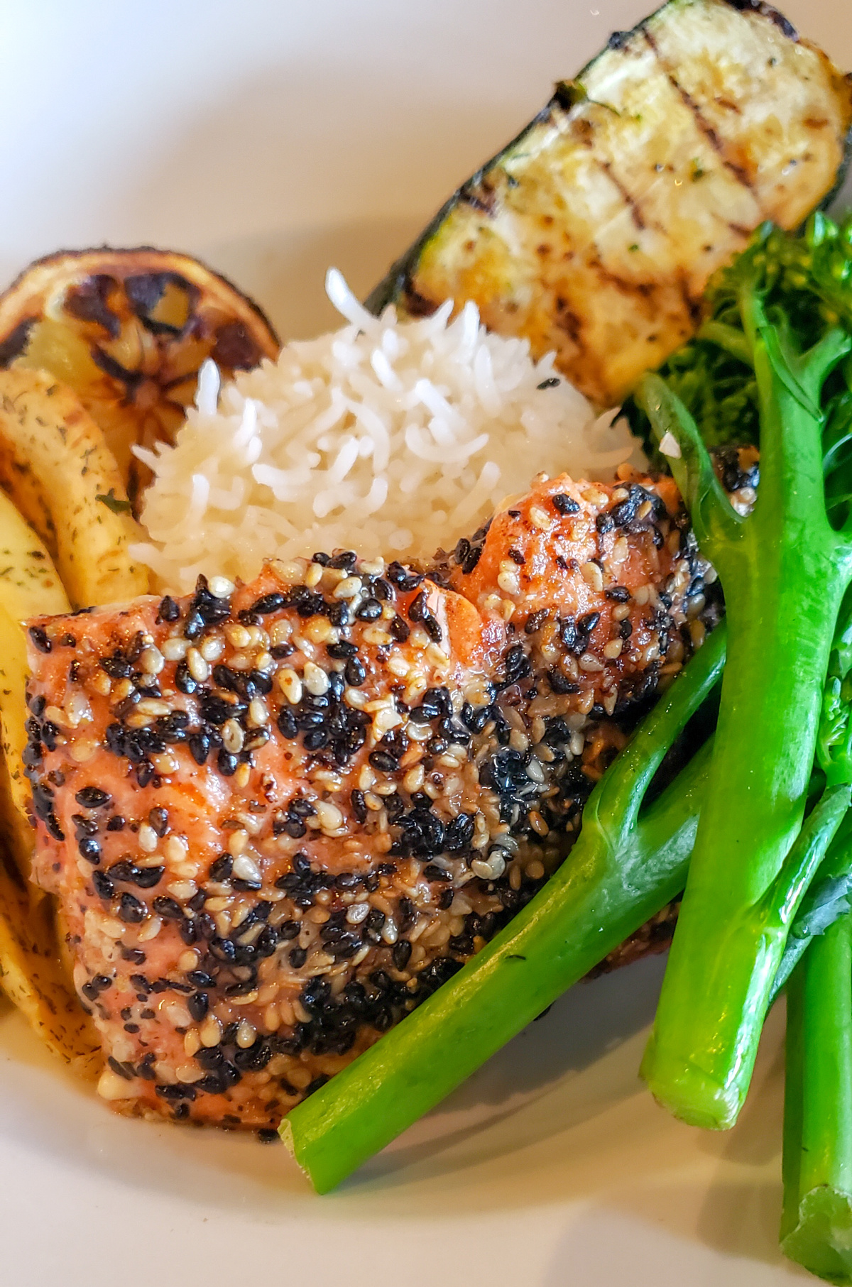 salmon dinner with broccolini