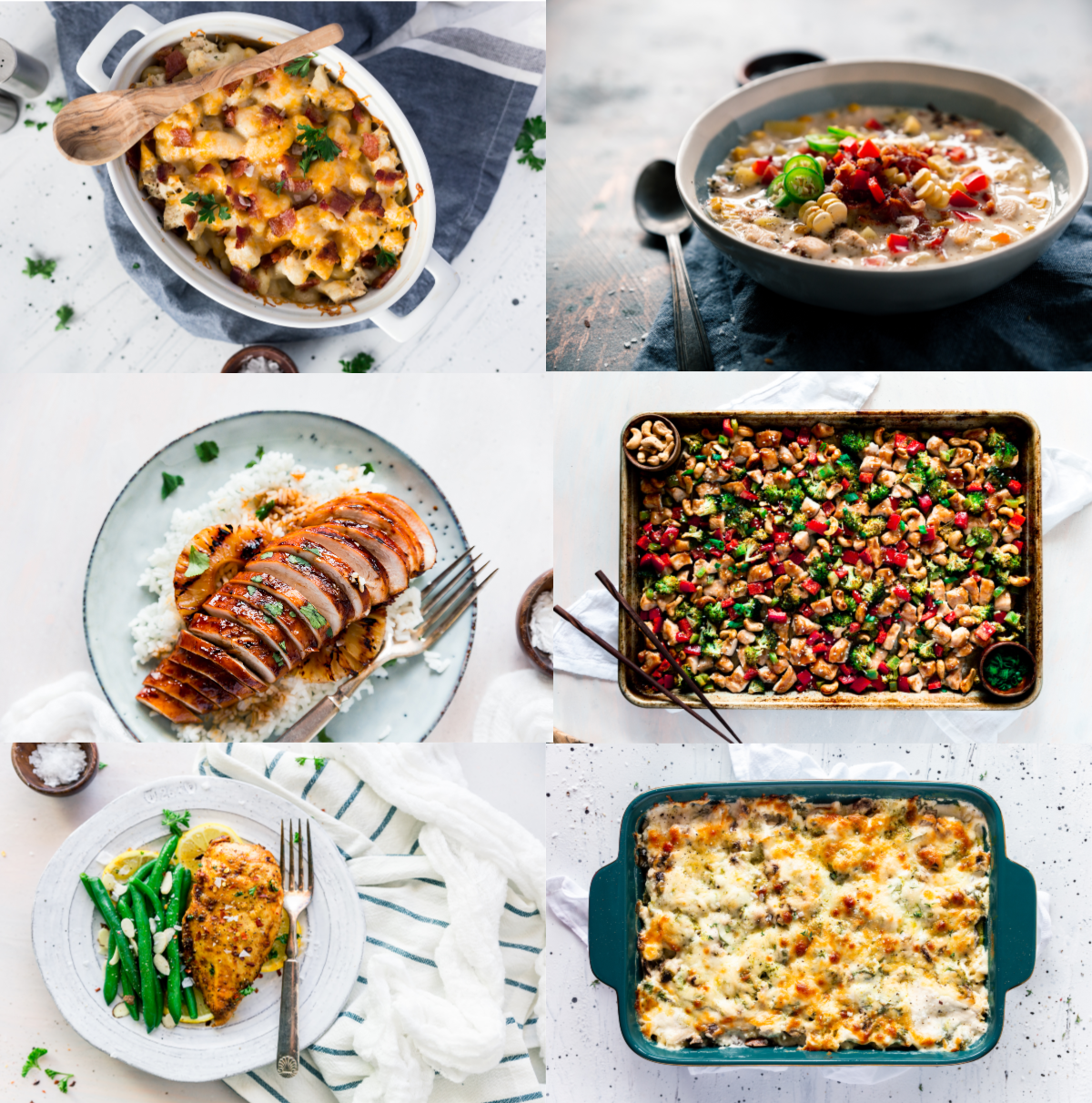 chicken recipes, sheet pan, pasta bakes, soup, comfort food