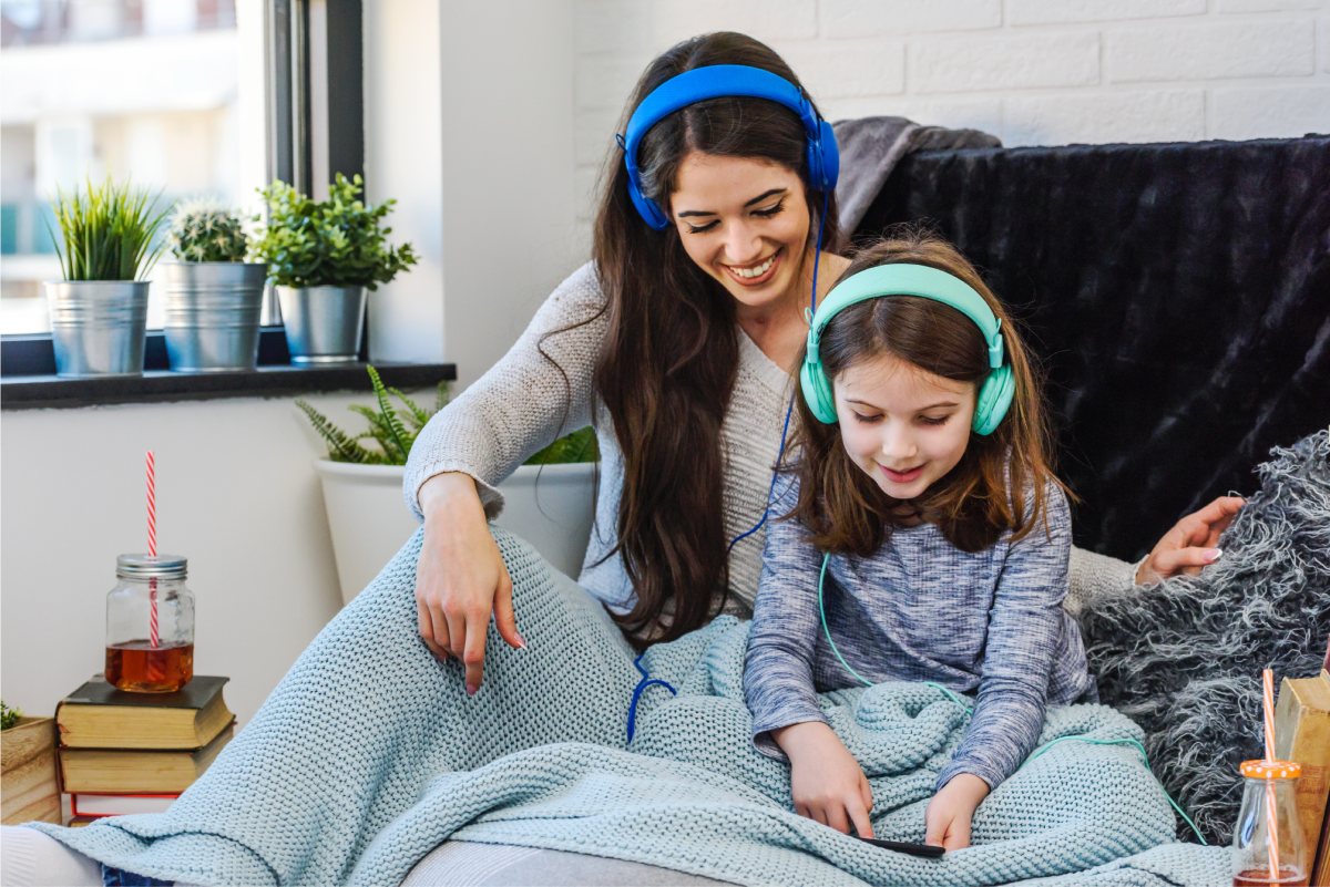 mother and daughter listening to emotional learning podcasts