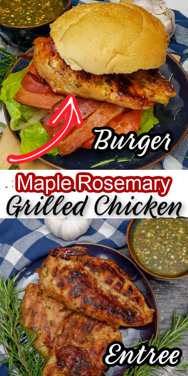This sweet and savoury Maple Rosemary and Garlic Herb Grilled Chicken is a tasty addition to your grilling menu with a simple and flavourful marinade versatile to pair with any sides or to have as a chicken burger!