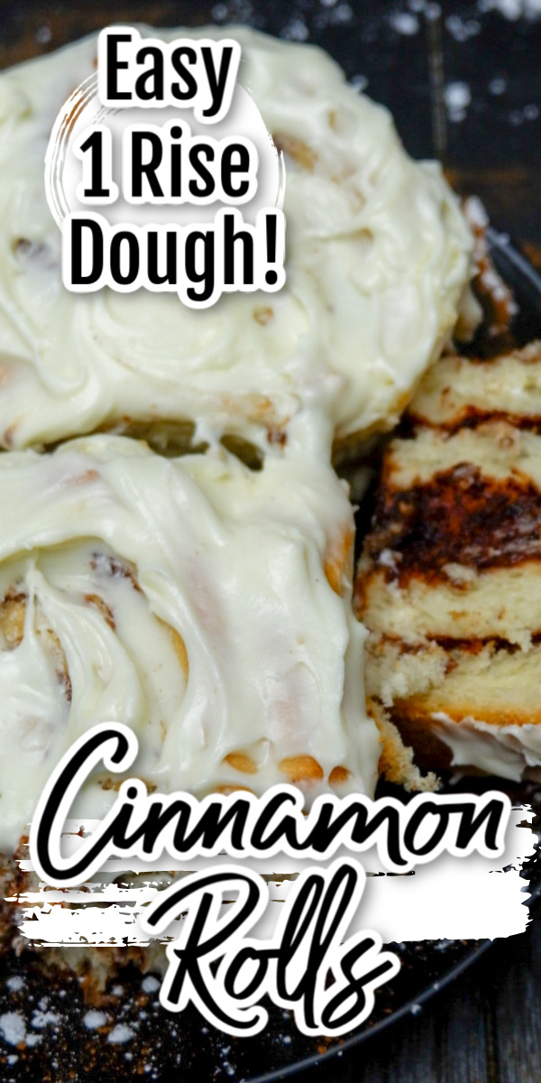 """Make this Cream Cheese Cinnamon Roll Recipe for a surprise treat your family will love! Cinnamon sugar in soft rolls topped with homemade cream cheese icing! To save time so you can eat this scrumptious treat even quicker we've cut out some of the waiting time and went the quick rise bread route, so you only have one """"rise"""" to wait on."""