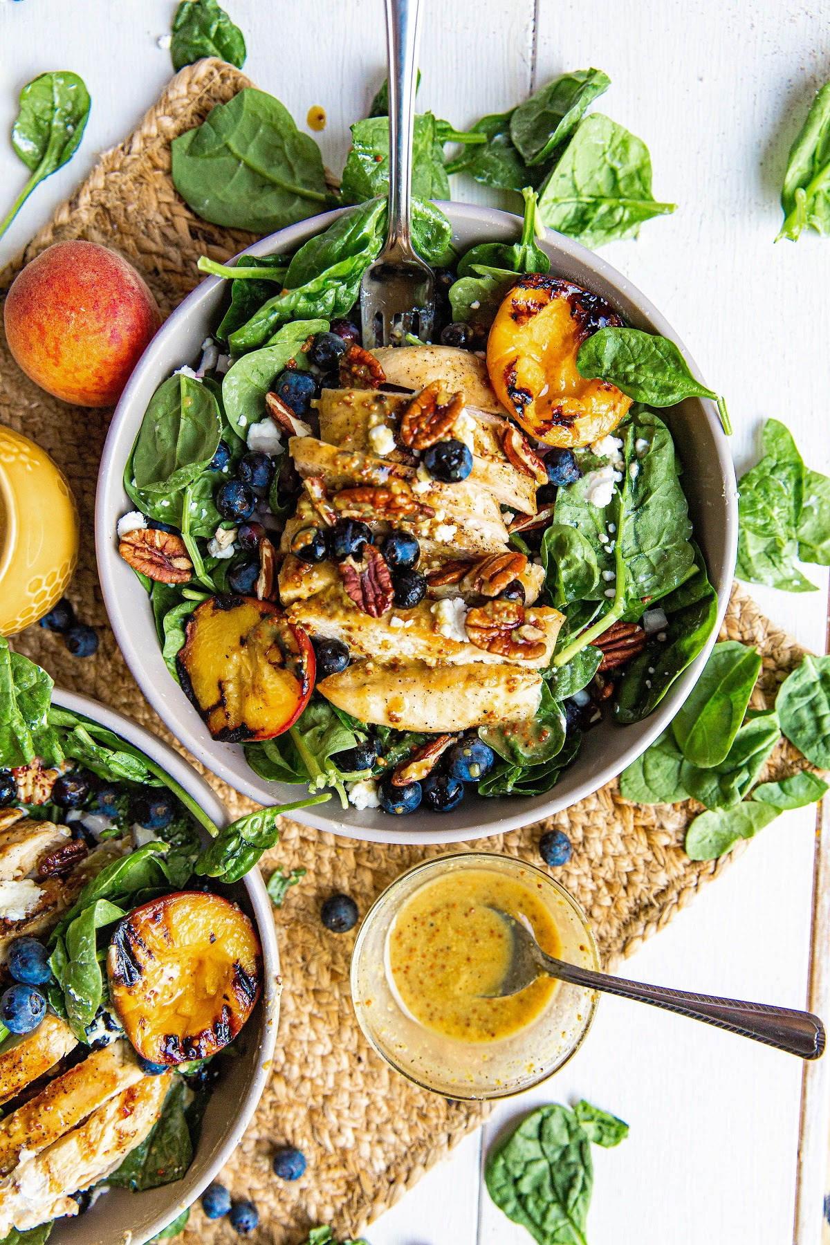 grilled peach salad with grilled chicken