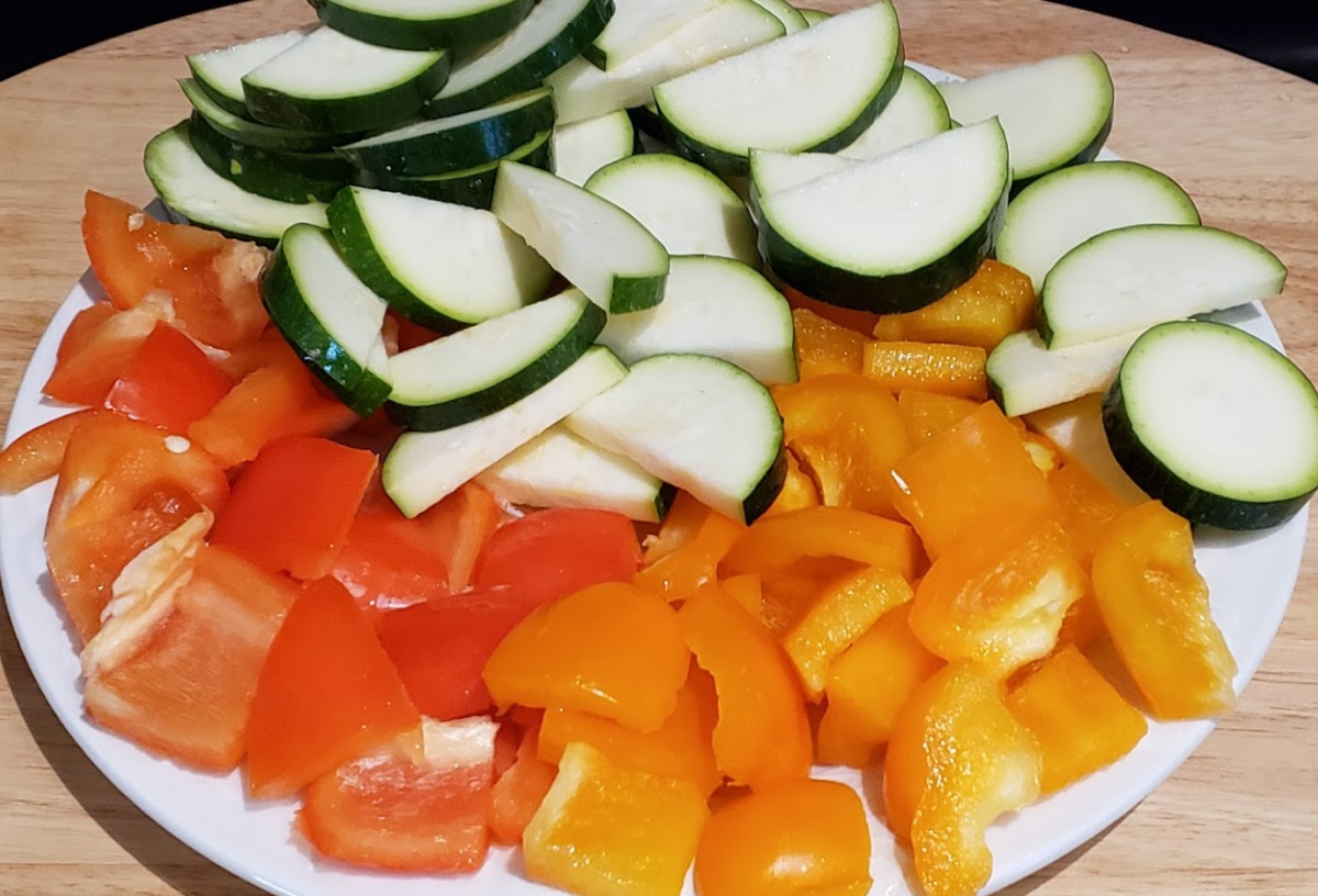 raw vegetables for honey sriracha chicken kebabs