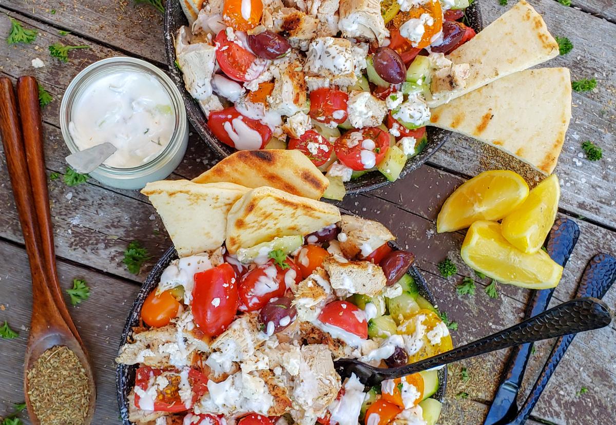 Greek chicken salad two bowls