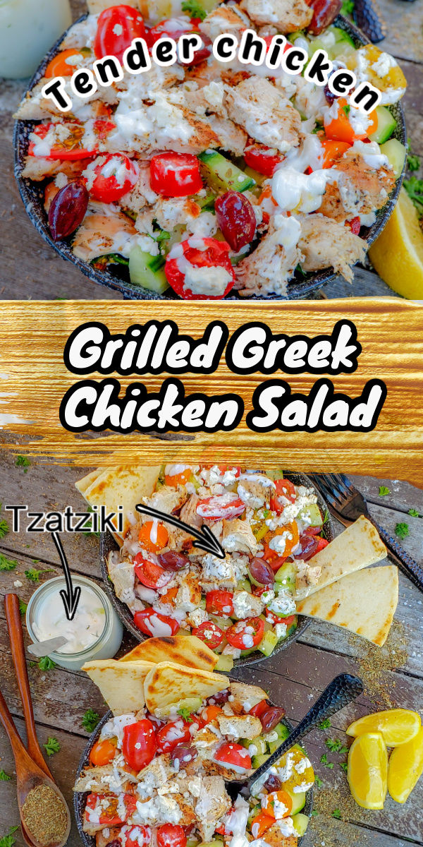 This grilled Greek chicken salad is a perfect light and refreshing choice loaded with protein and tons of delicious Mediterranean flavours! You can top this delicious salad with the dressing that is also the marinade for the chicken and/or with homemade (or store-bought) tzatziki. We're including a quick tzatziki recipe too.