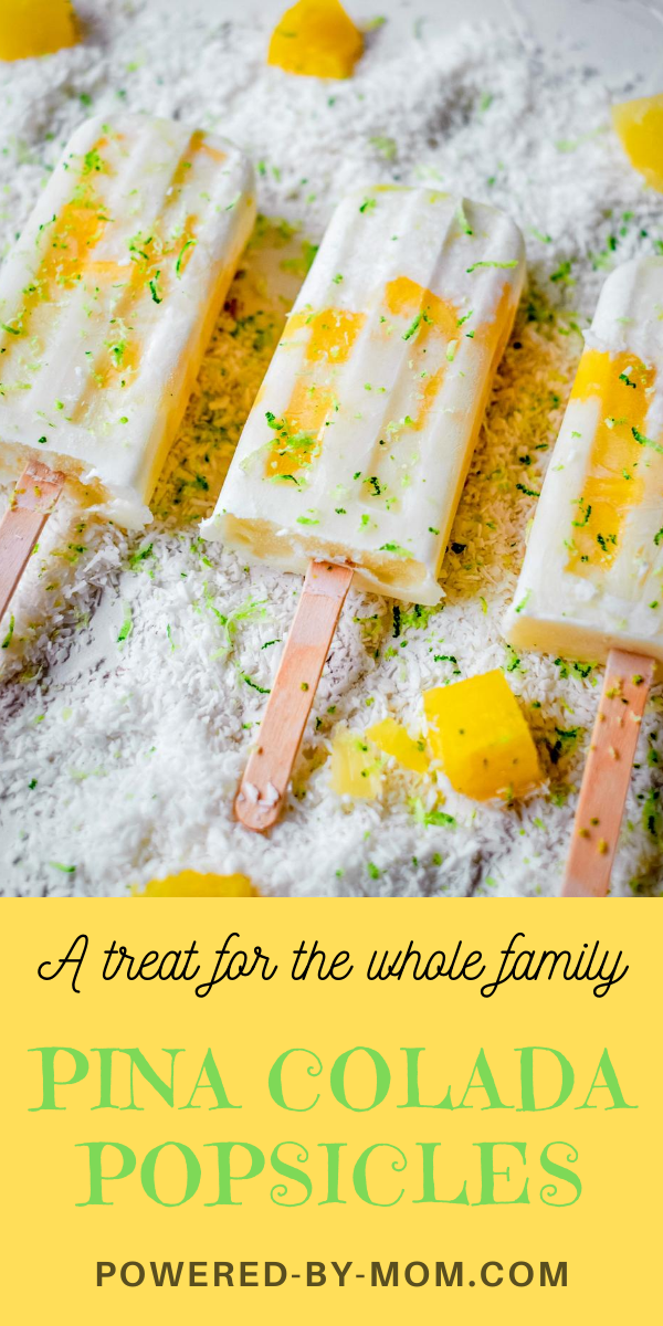The tropical flavors of pineapple & coconut paired with the slight tartness of lime zest make this pina colada popsicle a refreshing and tasty treat for the entire family. This easy peasy recipe also only requires FOUR ingredients, if you want to add some shredded coconut then it's five ingredients. It's so easy you'll be making them all of the time!