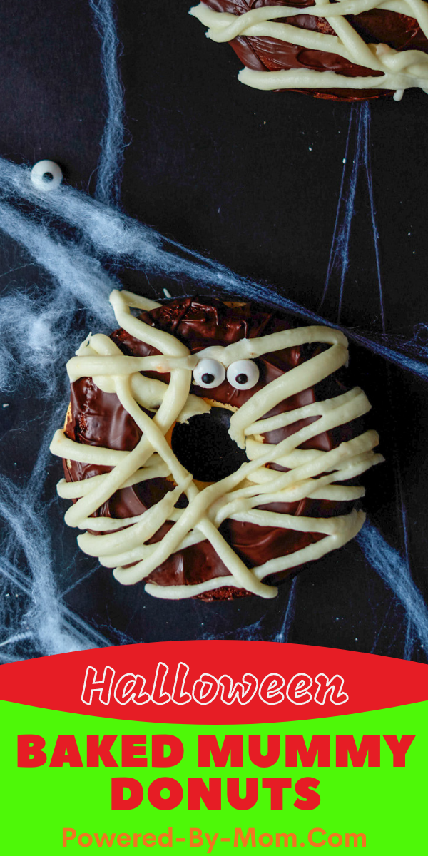 Halloween Donuts don't get any cuter than this simple baked mummy donut idea! A perfect treat for kids and adults to enjoy for Halloween!