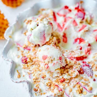 Strawberry Crumble No Churn Ice Cream