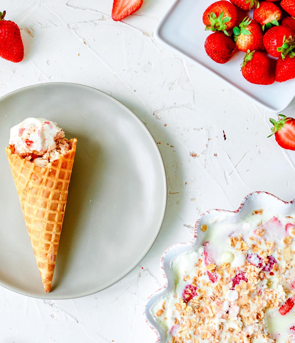 strawberry crumble ice cream cone and bowl