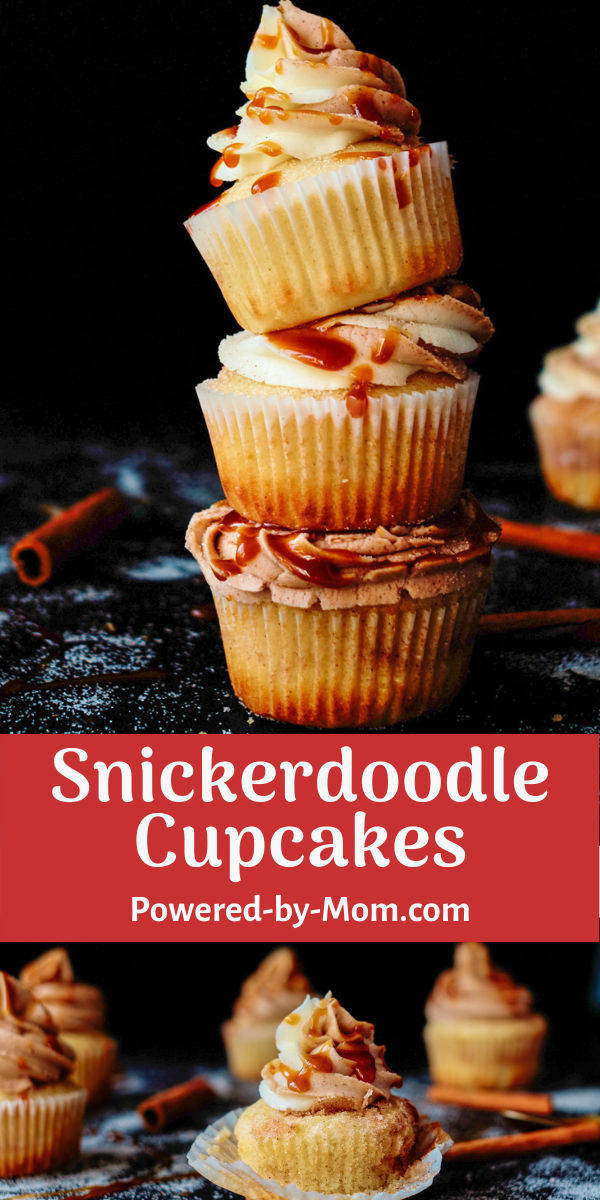 This Snickerdoodle Cupcake is a decadent dessert with fresh buttercream and for a tasty twist homemade caramel sauce = scrumptious