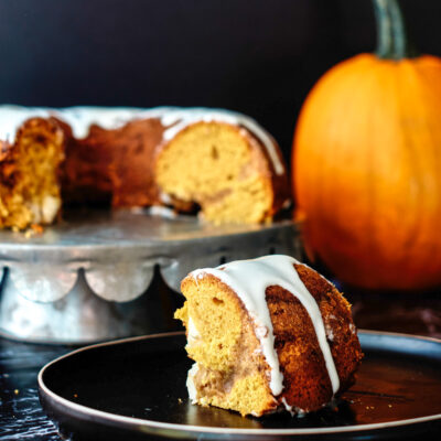 Pumpkin Coffee Cake with Cream Cheese Icing Drizzle