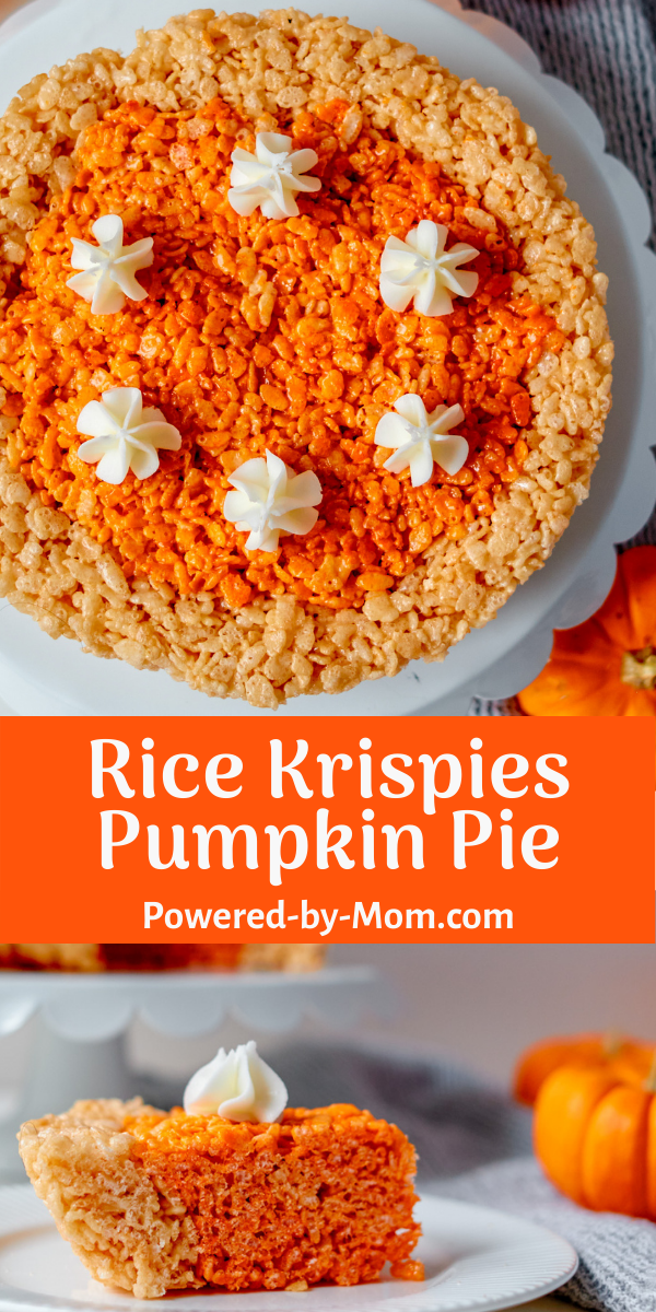 This adorable Thanksgiving Rice Krispies recipe is a cute way to present your favorite cereal treat! Shaped like a pie, it's a great addition to your holiday desserts.