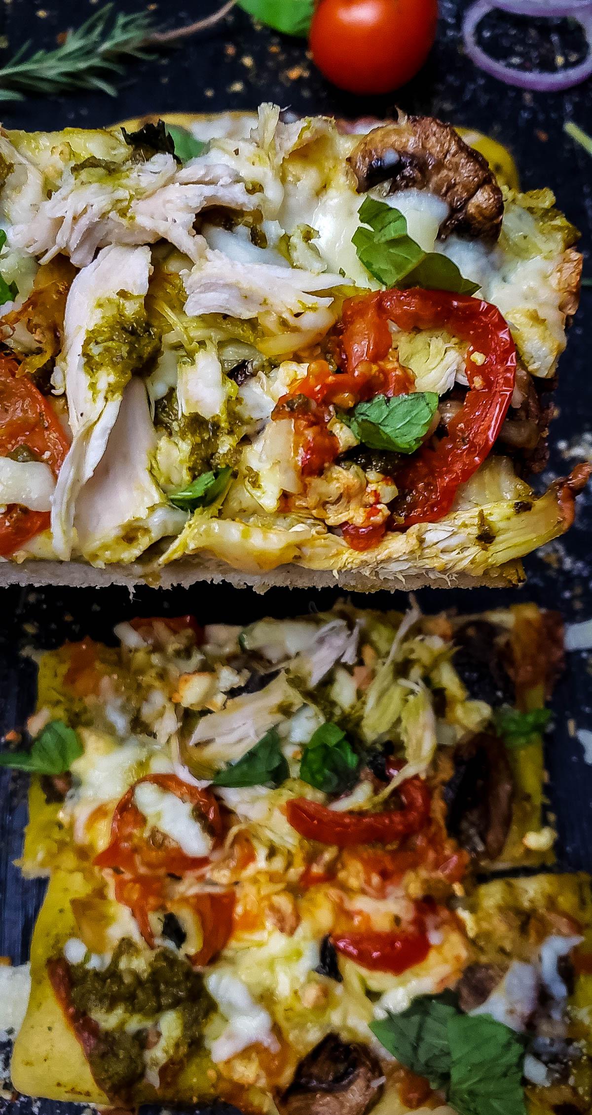 Pesto chicken pizza slice