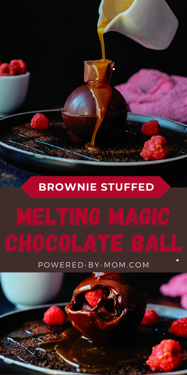 This Brownie Stuffed Magic Chocolate Ball with Caramel is a decadent dessert when hot caramel melts the chocolate to reveal a brownie and fresh raspberries too! Our mould is the perfect finish to this magical dessert that looks oh so fancy but is so easy to make! You can also pour hot fudge on top of this magic chocolate ball which is more common but I say why not have caramel and fudge