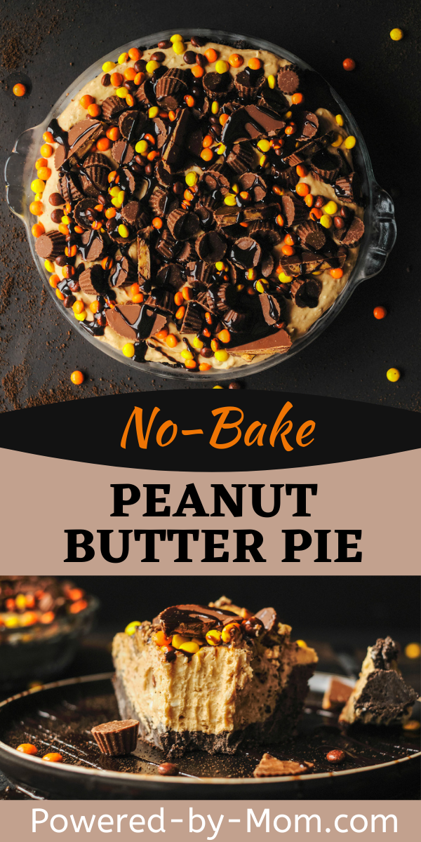 This No-Bake Peanut Butter Pie is filled with delicious flavor! Peanut butter, chocolate, bits of Reese's peanut butter cups and more!